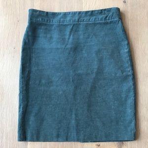 J. Crew corduroy pencil skirt size 8 green